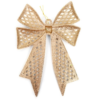Christmas Gold Plastic Bow Ornament Décor - XMAOR5241-GD