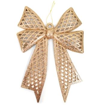 Christmas Gold Plastic Bow Ornament Décor - XMAOR5241-GD