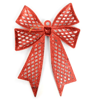 Christmas Red Plastic Bow Ornament Décor - XMAOR5241-RD