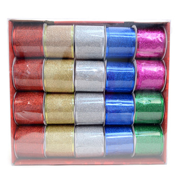 20pc Christmas Solid Glitter Wired Ribbons - XWDCR5306