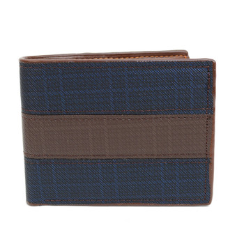 Bi-Fold  Leather Navy & Brown Men's Wallet - MLW5193-BL