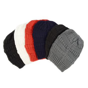 6pcs Assorted Colors Women's Knit Winter Beanie Ponytail Hat - H1805042