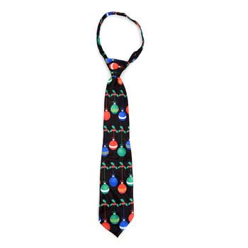 Boy's Christmas Ball  Black Zipper Tie - MPWZ-102
