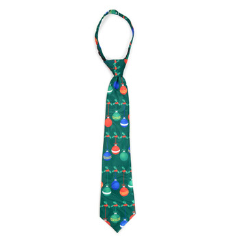 Boy's Christmas Ball Green Zipper Tie - MPWZ-104