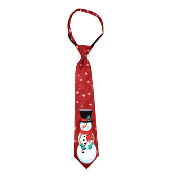 Boy's Christmas Snowman Burgundy Zipper Tie - MPWZ-105