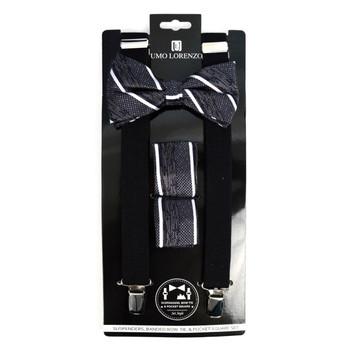 3pc Men's Black Clip-on Suspenders, Striped Bow Tie & Hanky Sets - FYBTHSU-BLK#2