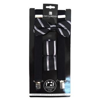 3pc Men's Black Clip-on Suspenders, Striped Bow Tie & Hanky Sets - FYBTHSU-BLK#3