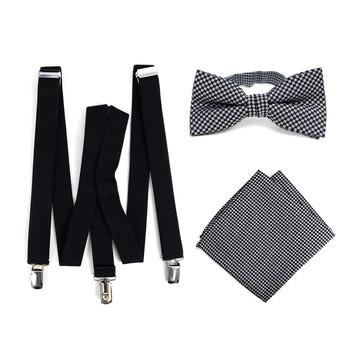 3pc Men's Black Clip-on Suspenders, Dots Bow Tie & Hanky Sets - FYBTHSU-BLK#5