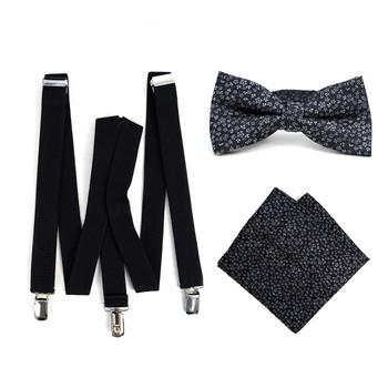 3pc Men's Black Clip-on Suspenders, Floral Bow Tie & Hanky Sets - FYBTHSU-BLK#6
