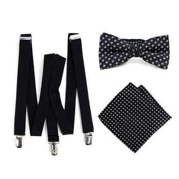 3pc Men's Black Clip-on Suspenders, Dots Bow Tie & Hanky Sets - FYBTHSU-BLK#7