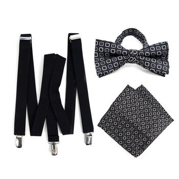 3pc Men's Black Clip-on Suspenders, Dots Bow Tie & Hanky Sets - FYBTHSU-BLK#8