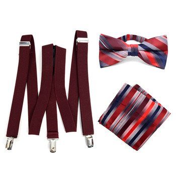 3pc Men's Burgundy Clip-on Suspenders, Striped Bow Tie & Hanky Sets - FYBTHSU-BUR#1