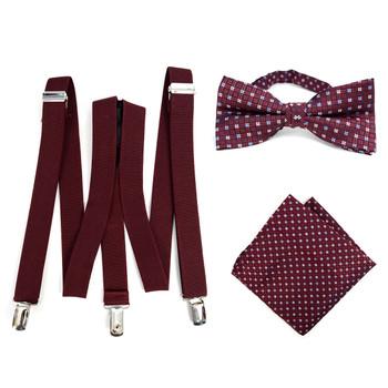 3pc Men's Burgundy Clip-on Suspenders, Dots Bow Tie & Hanky Sets - FYBTHSU-BUR#2