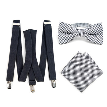 3pc Men's Charcoal Clip-on Suspenders, Dots Bow Tie & Hanky Sets - FYBTHSU-CHAR#3