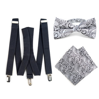 3pc Men's Charcoal Clip-on Suspenders, Paisley Bow Tie & Hanky Sets - FYBTHSU-CHAR#4
