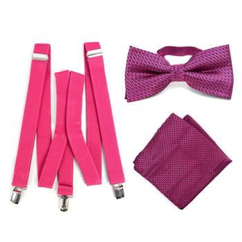 3pc Men's Fuchsia Clip-on Suspenders, Dots Bow Tie & Hanky Sets - FYBTHSU-FA#1