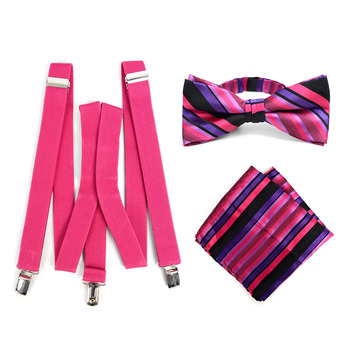 3pc Men's Fuchsia Clip-on Suspenders, Striped Bow Tie & Hanky Sets - FYBTHSU-FA#2