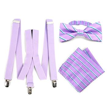 3pc Men's Lavender Clip-on Suspenders, Striped Bow Tie & Hanky Sets - FYBTHSU-LAV#2