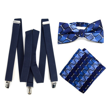 3pc Men's Navy Clip-on Suspenders, Bow Tie & Hanky Sets - FYBTHSU-N.BL#1