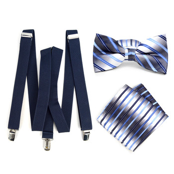 3pc Men's Navy Clip-on Suspenders, Striped Bow Tie & Hanky Sets - FYBTHSU-N.BL#3