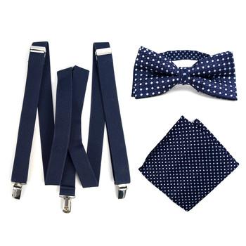 3pc Men's Navy Clip-on Suspenders, Dots Bow Tie & Hanky Sets - FYBTHSU-N.BL#5