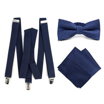 3pc Men's Navy Clip-on Suspenders, Dots Bow Tie & Hanky Sets - FYBTHSU-N.BL#6