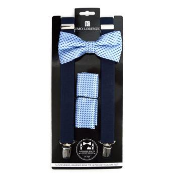 3pc Men's Navy Clip-on Suspenders, Dots Bow Tie & Hanky Sets - FYBTHSU-N.BL#7