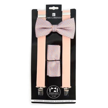 3pc Men's Peach Clip-on Suspenders, Dots Bow Tie & Hanky Sets - FYBTHSU-PH#1