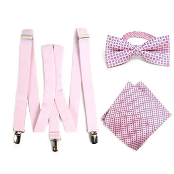 3pc Men's Pink Clip-on Suspenders, Dots Bow Tie & Hanky Sets - FYBTHSU-PK#1