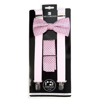 3pc Men's Pink Clip-on Suspenders, Dots Bow Tie & Hanky Sets - FYBTHSU-PK#1