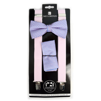 3pc Men's Pink Clip-on Suspenders, Dots Bow Tie & Hanky Sets - FYBTHSU-PK#2