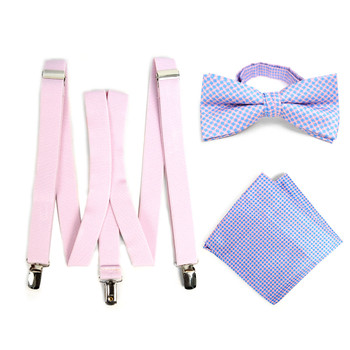 3pc Men's Pink Clip-on Suspenders, Dots Bow Tie & Hanky Sets - FYBTHSU-PK#2