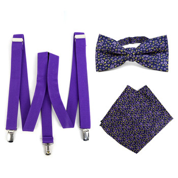 3pc Men's Purple Clip-on Suspenders, Floral Bow Tie & Hanky Sets - FYBTHSU-PUR#4