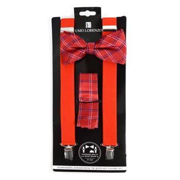 3pc Men's Red Clip-on Suspenders, Plaid Bow Tie & Hanky Sets - FYBTHSU-RD#1