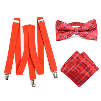 3pc Men's Red Clip-on Suspenders, Plaid Bow Tie & Hanky Sets - FYBTHSU-RD#1