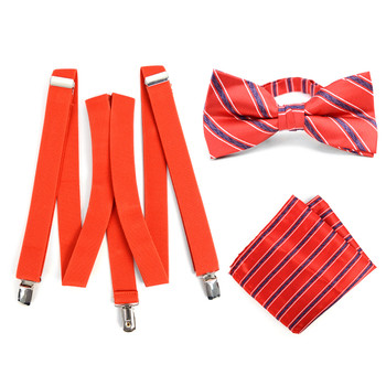 3pc Men's Red Clip-on Suspenders, Striped Bow Tie & Hanky Sets - FYBTHSU-RD#2
