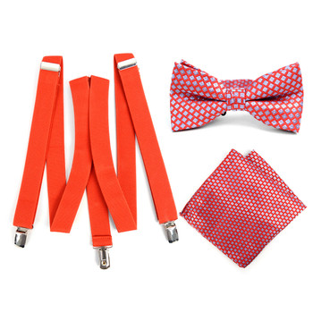 Bow Tie and Hanky Hankie Set Mens Coral with Blue Geometric 3 PC Clip-on Suspenders