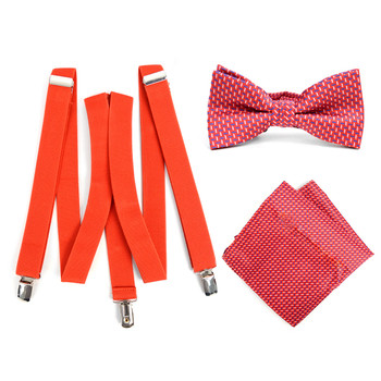 3pc Men's Red Clip-on Suspenders, Dots Bow Tie & Hanky Sets - FYBTHSU-RD#4
