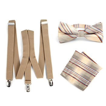 3pc Men's Tan Clip-on Suspenders, Striped Bow Tie & Hanky Sets - FYBTHSU-TN#1
