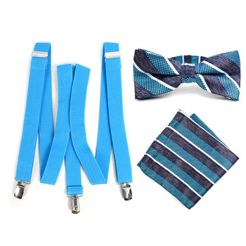 3pc Men's Turquoise Clip-on Suspenders, Striped Bow Tie & Hanky Sets - FYBTHSU-TURQ#1