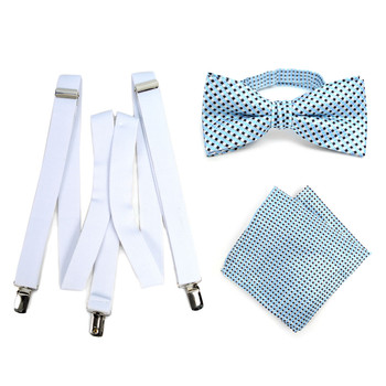 3pc Men's White Clip-on Suspenders, Dots  Bow Tie & Hanky Sets - FYBTHSU-WH#2