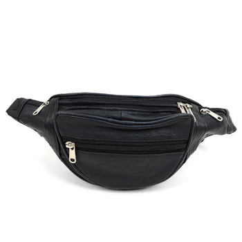 100% Genuine Goatskin Leather Fanny Pack Waist Bag with Adjustable Strap - FBW1854