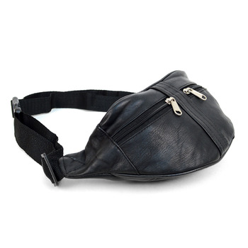 100% Genuine Goatskin Leather Fanny Pack Waist Bag with Adjustable Strap - FBW1855