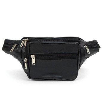 100% Genuine Goatskin Leather Fanny Pack Waist Bag with Adjustable Strap - FBW1856