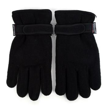 12pc Men's Fleece Winter Black Gloves - ZM4