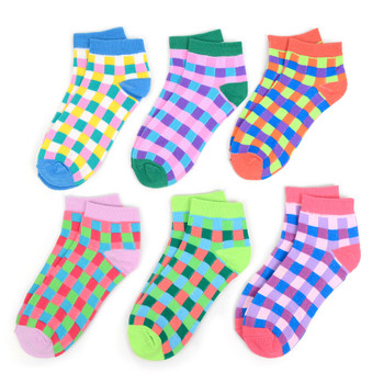 Assorted (6 pairs/pack) Women's Checkered Low Cut Socks - LN6S1700