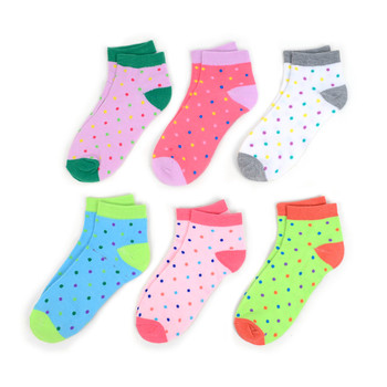 Assorted (6 pairs/pack) Women's Polka Dots Low Cut Socks - LN6S1702