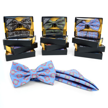 12pc Pack Assorted Men's Floral Bow Tie & Matching Hanky - BTHB9000FLR