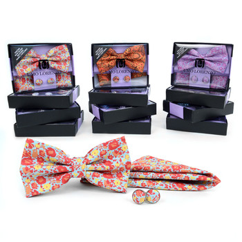 12pc Pack Assorted Men's Floral Bow Tie, Cufflinks & Matching Hanky - BTHC9000FLR