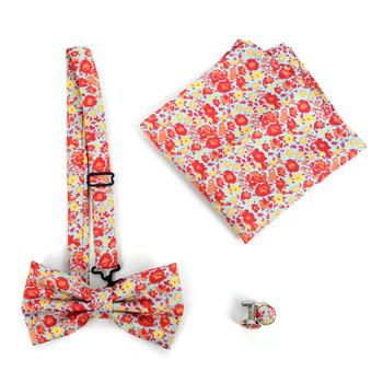 12pc Pack Assorted Men's Floral Bow Tie, Cufflinks & Matching Hanky - BTHC9000FLR